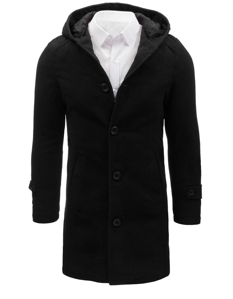 Čierny pánsky kabát s kapucňou (cx0367)