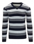 """Pánsky pásikavý sveter (wx0871) - granátový """"M"""""""