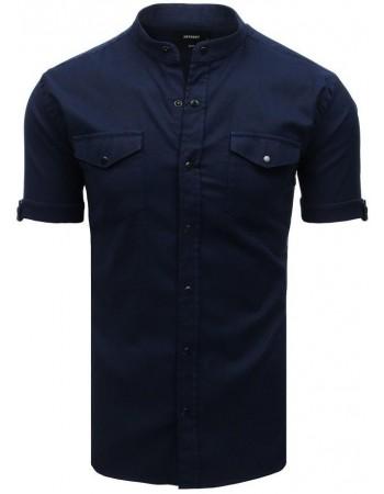 Tmavomodrá pánska košeľa s krátkym rukávom (kx0920)