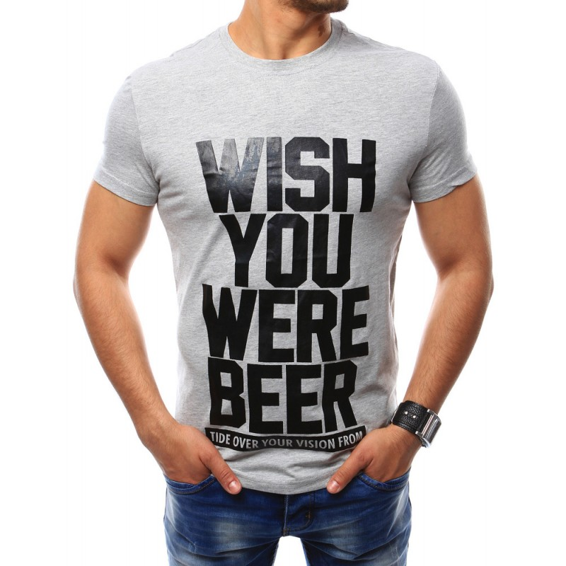 Sivé pánske tričko so štýlovou potlačou (rx2391)