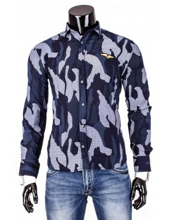 Pánska košeľa s maskáčovým vzorom (dq0002) - tmavomodrá