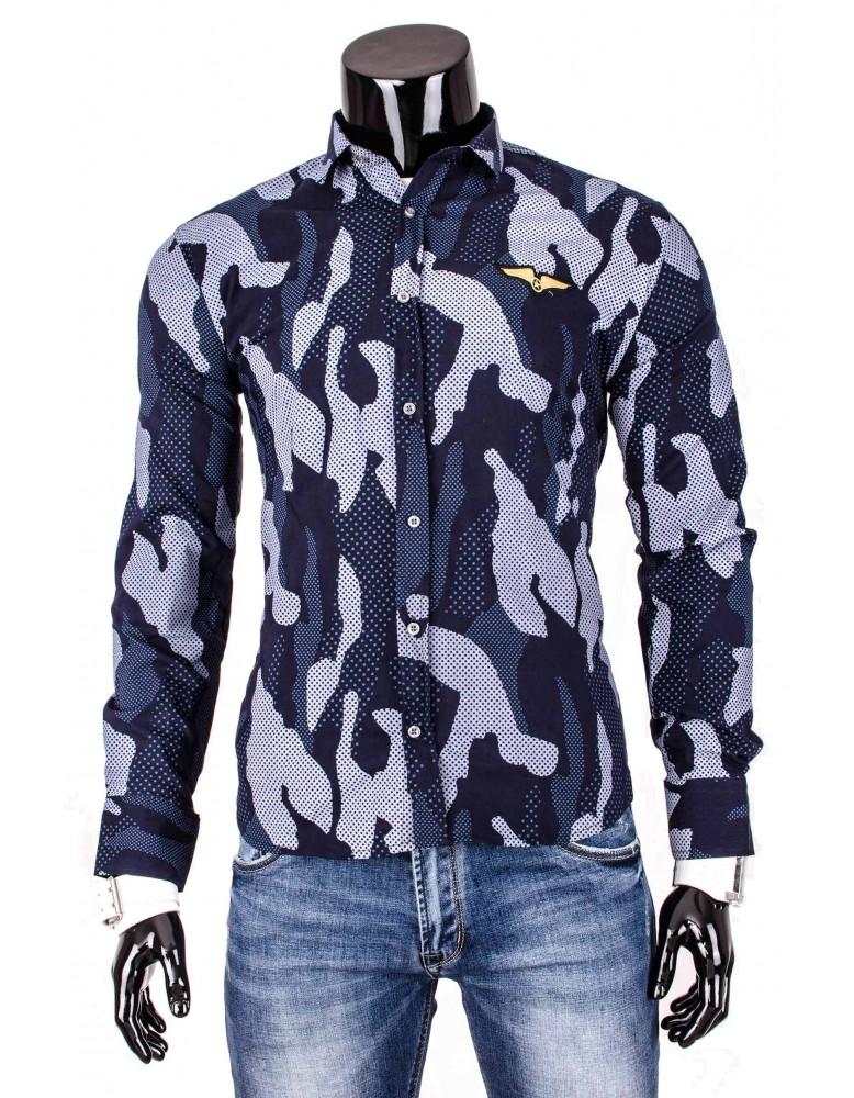 Pánska košeľa s maskáčovým vzorom (dq0002) - granátová