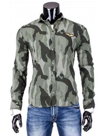 Pásnka košeľa s maskáčovým vzorom (dq0001) - zelená