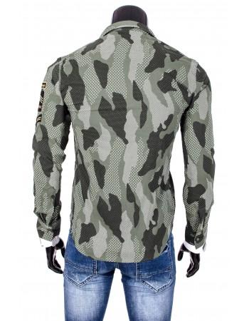 Pánska košeľa s maskáčovým vzorom (dq0001) - zelená