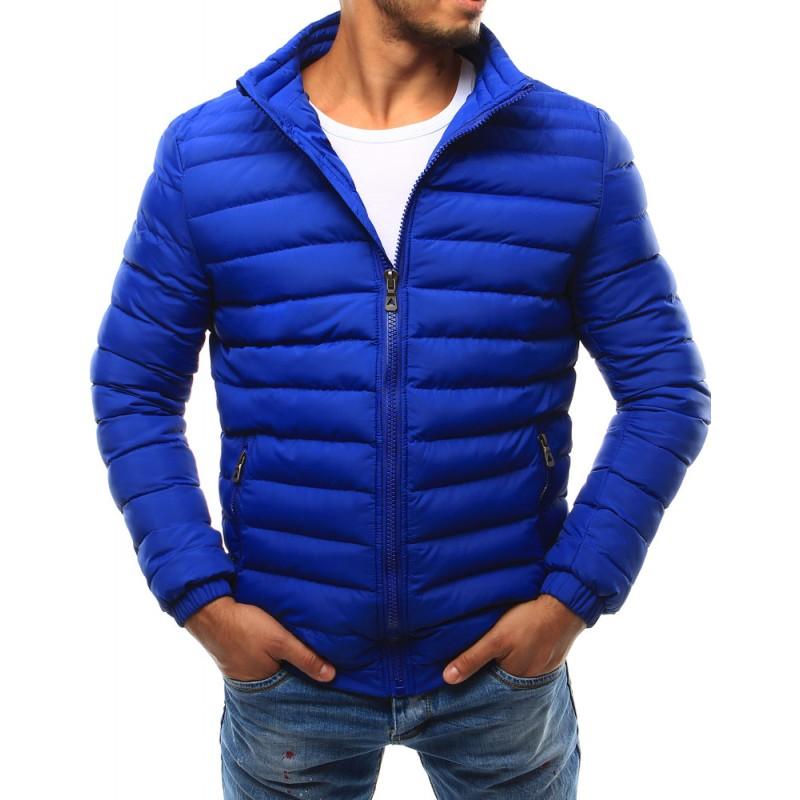 Pánska bunda na prechodné obdobie s prešívaným vzorom (tx1710) - modrá
