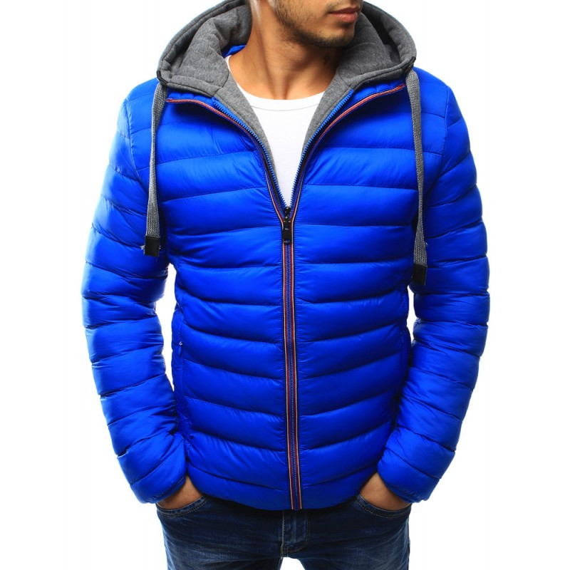 Pánska prešívaná bunda s kapucňou (tx1816) - modrá dccecaac027