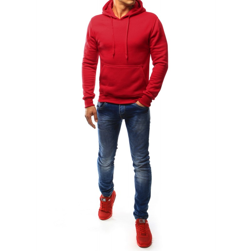 df41d3d53c0 Jednofarebná pánska mikina s kapucňou (bx3020) - červená