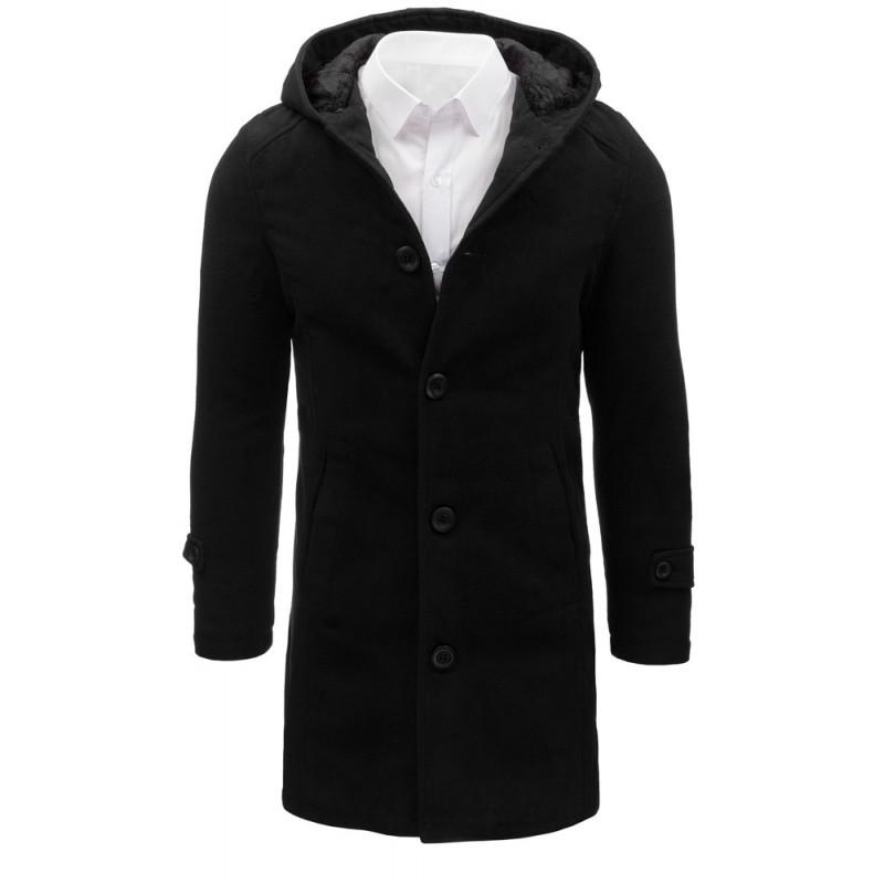 Čierny pánsky kabát s kapucňou (cx0367) c935cad9472