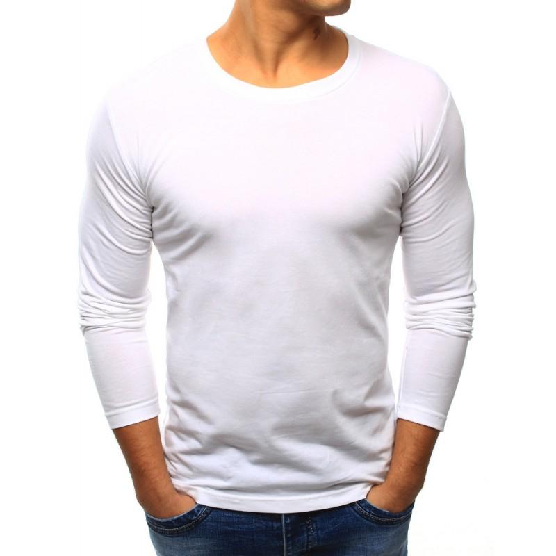 Pánske jednofarebné tričko s dlhým rukávom (lx0415) - biele