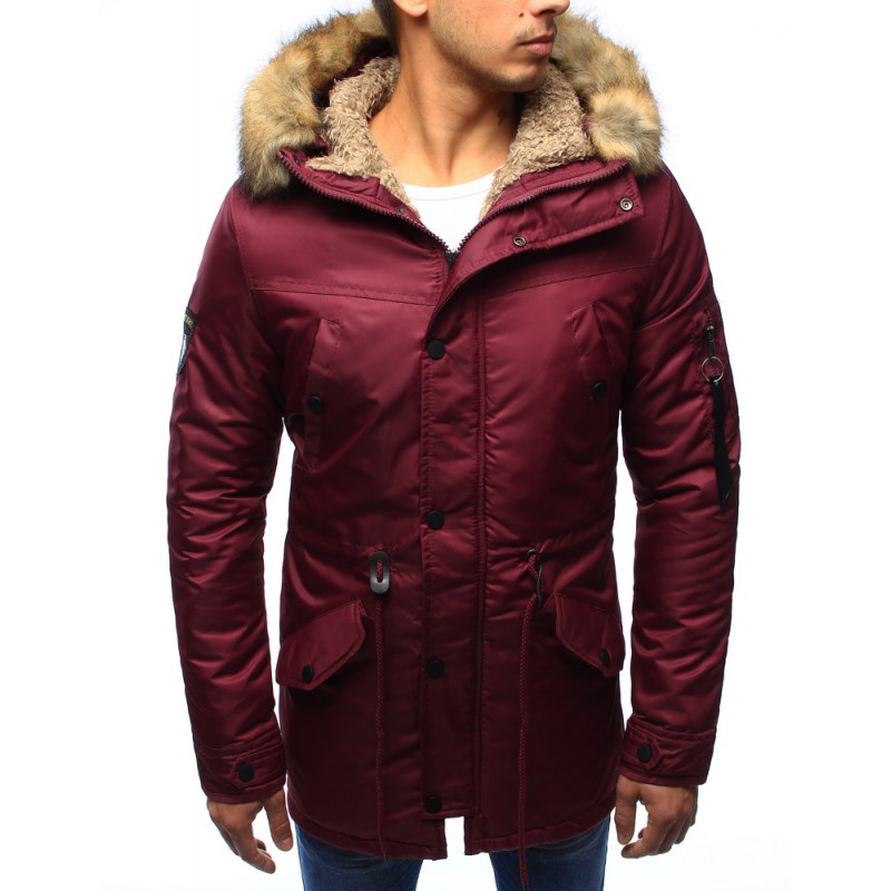 "Pánska zimná bunda (tx1970) - bordová ""XXL"""