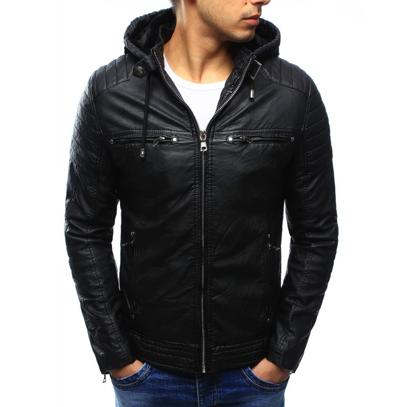 Pánska čierna kožená bunda (tx1660A) a9eaff4ddf9