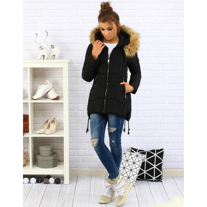 Dámska zimná bunda s kapucňou (ty0081) - čierna