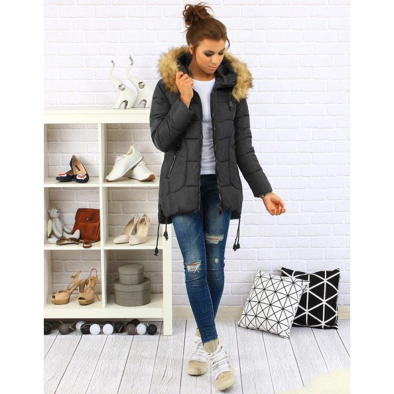 Dámska zimná bunda s kapucňou (ty0079) - grafitová