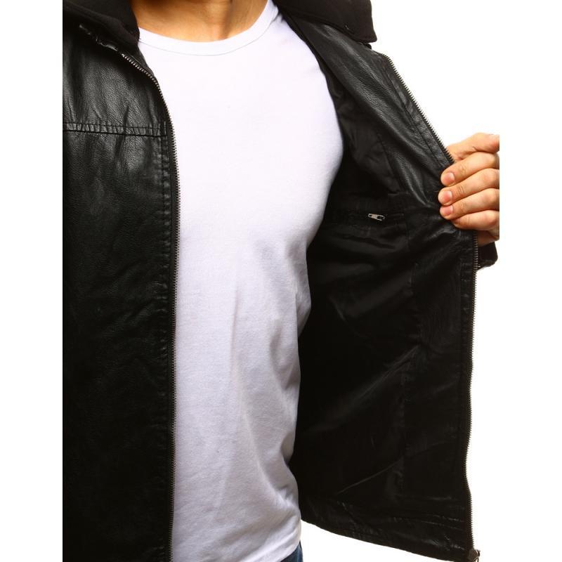 Pánska koženková bunda čierno-biela (tx2111) 594373afa3e