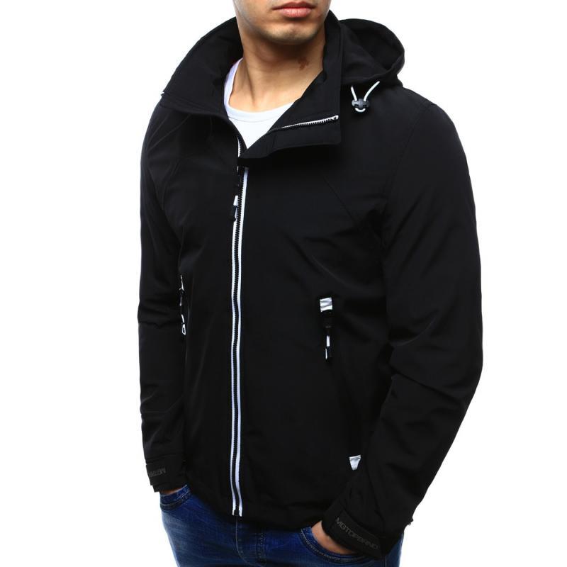 Štýlová pánska bunda na prechodné obdobie (tx2101) - čierna 495f1af3e1b