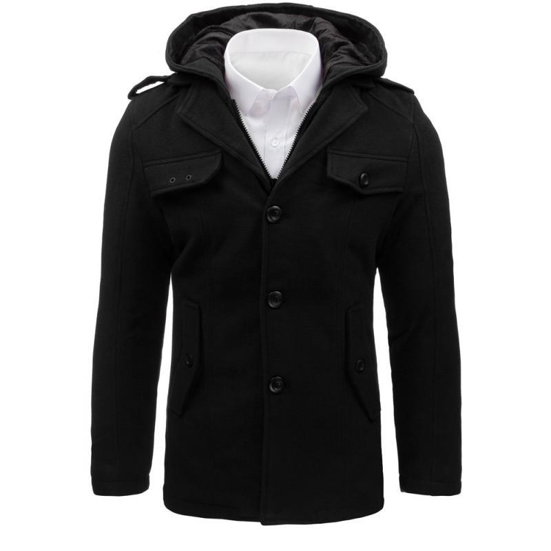 Čierny pánsky kabát s kapucňou (cx0369) 2cf79bf3bbf