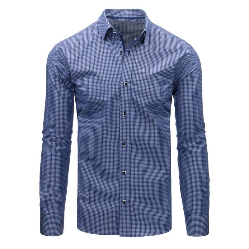2f38237394 Pánska tmavo modrá košeľa s károvaným vzorom(dx1464)