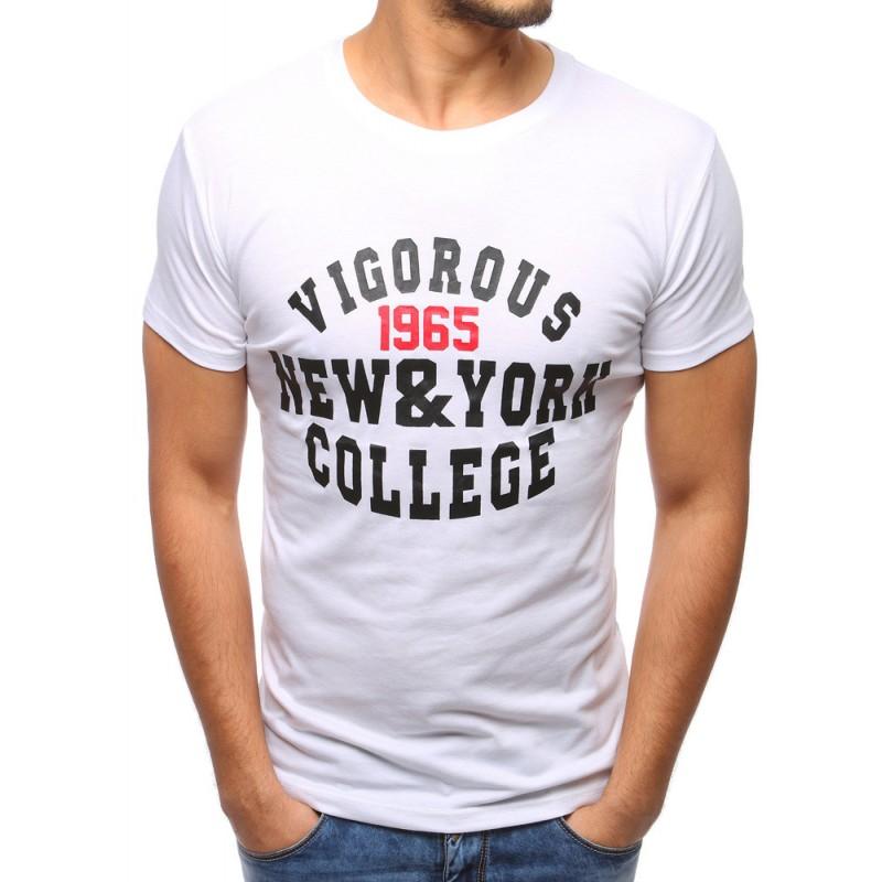 Jednofarebné pánske tričko s potlačou (rx2761) - biele