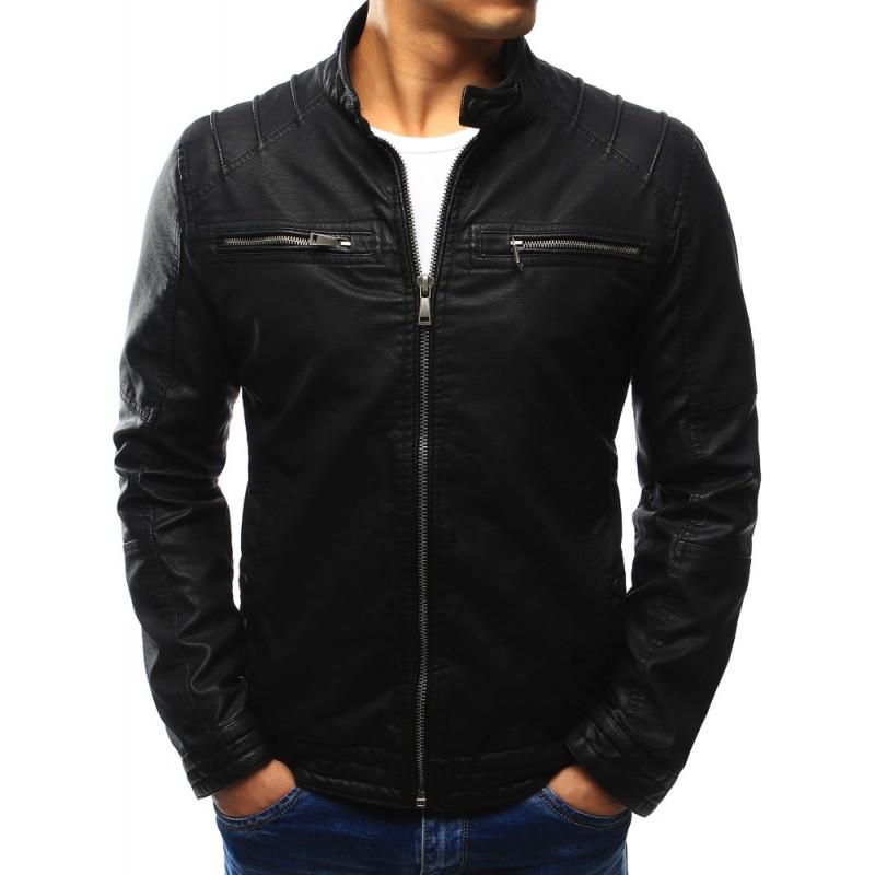 """Pánska kožená bunda (tx1858) - čierna """"XL"""""""