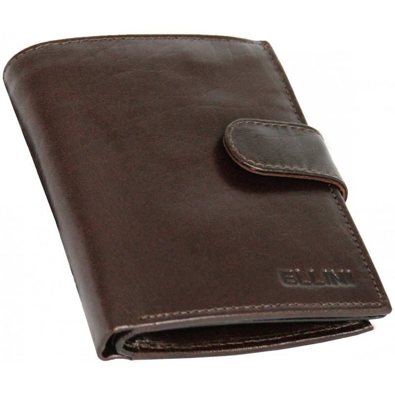 Peňaženka Ellini z kože - tmavohnedá c95fb49415e
