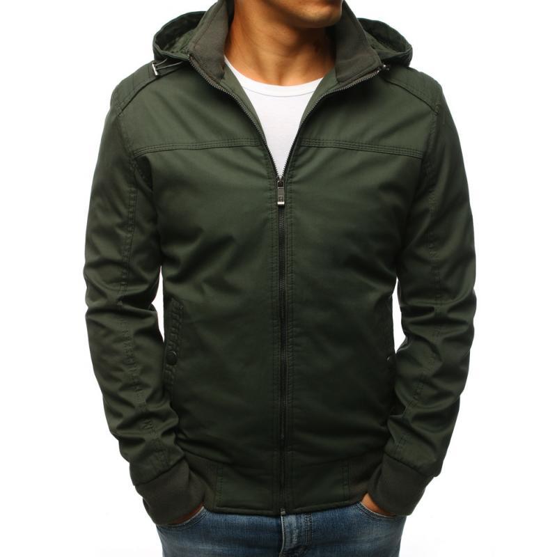 Pánska prechodná bunda zelenej farby s kapucňou(tx2261) e0ff2bb05fc