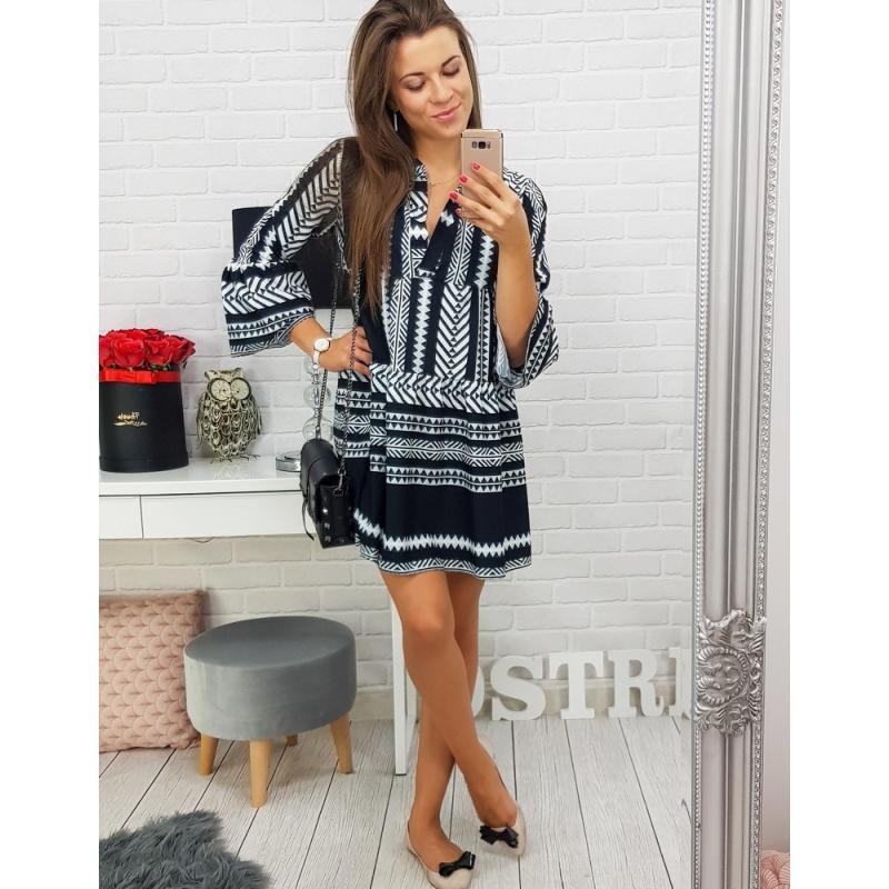 e2c2e9d2237e Dámske šaty LUISA s čierno-bielym vzorom (ey0387)