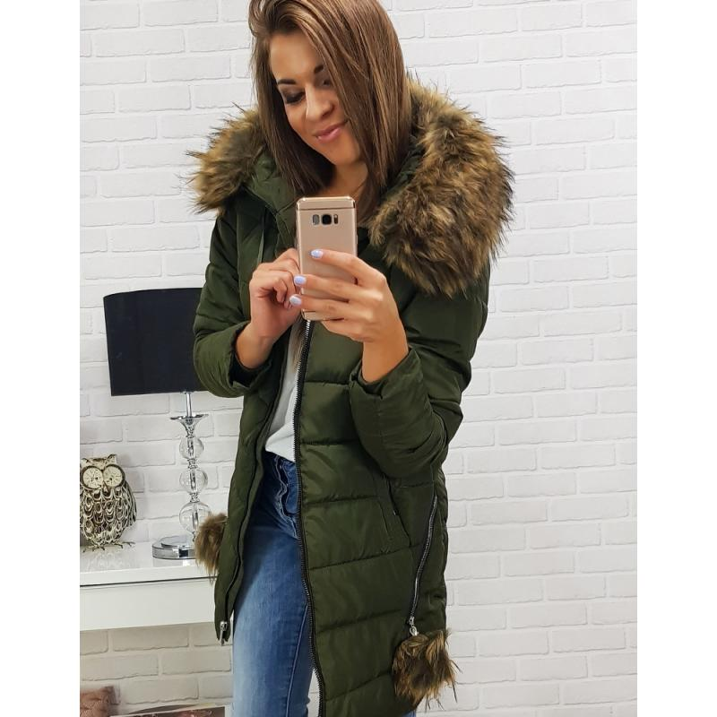 Dámska zimná bunda s kapucňou (ty0274) - zelená