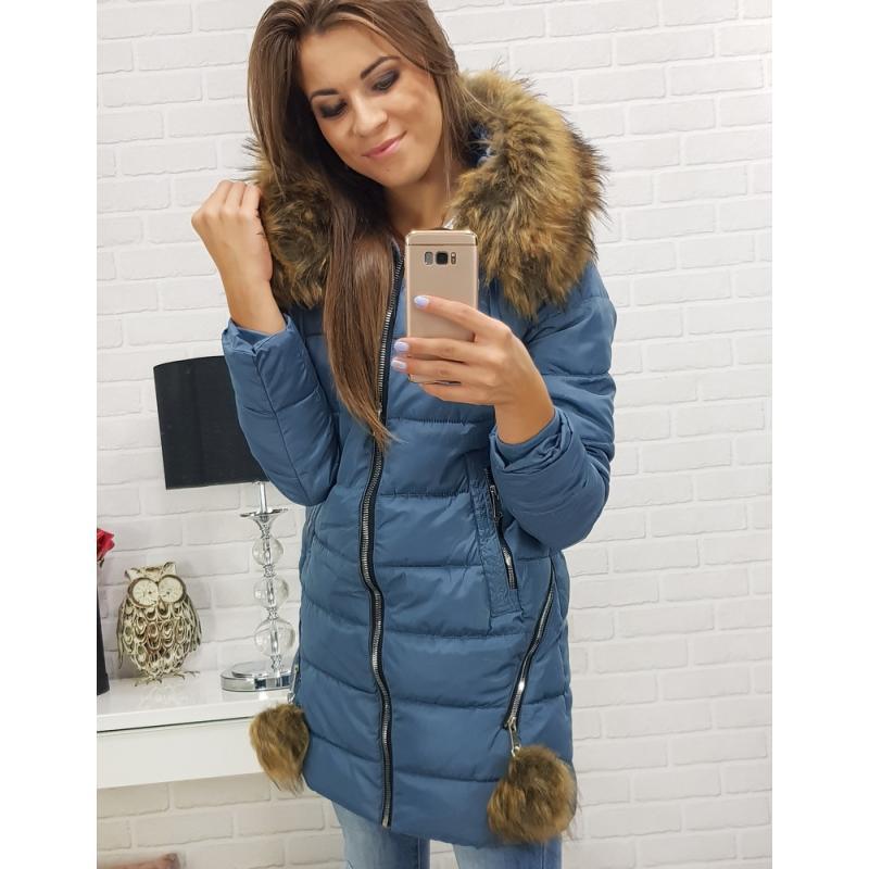 Dámska zimná bunda s kapucňou (ty0276) - modrá