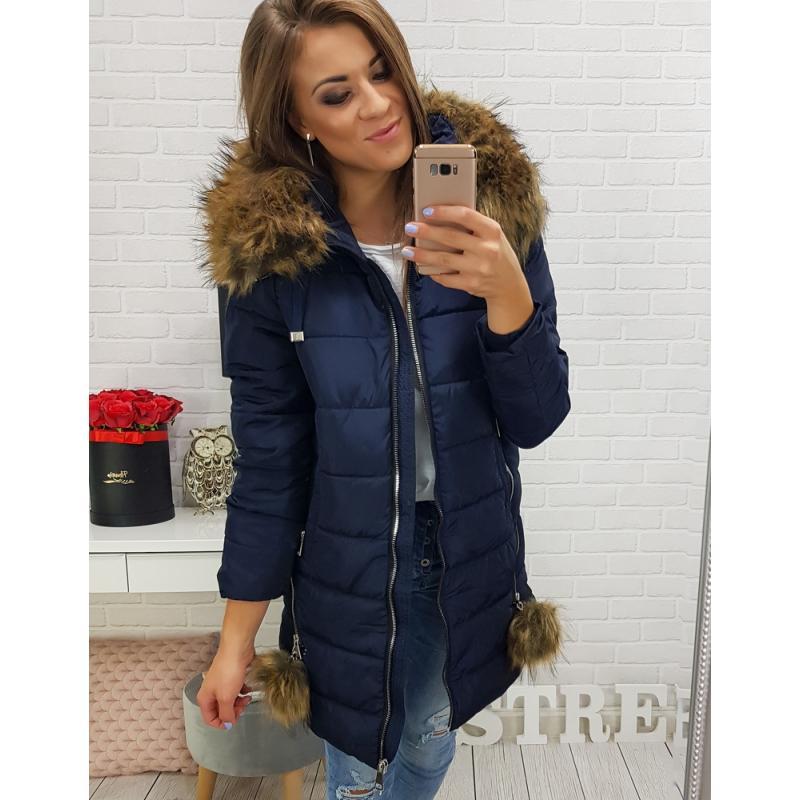 Dámska zimná bunda s kapucňou (ty0277) - tmavomodrá
