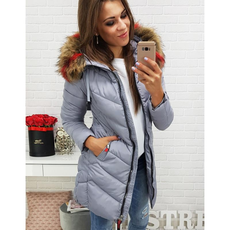Sivá dámska bunda na zimu (ty0284)