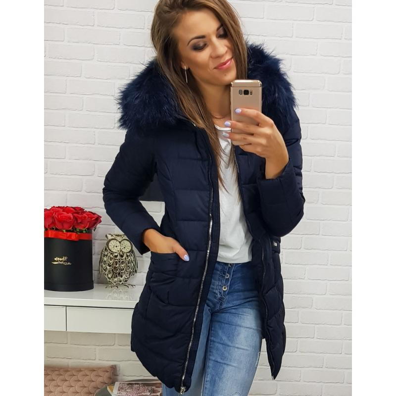 Dámska zimná bunda s kapucňou (ty0305) - tmavomodrá