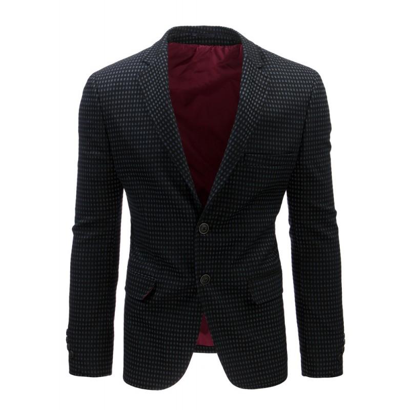 """Čierne kárované sako pre mužov (mx0372) """"S"""""""
