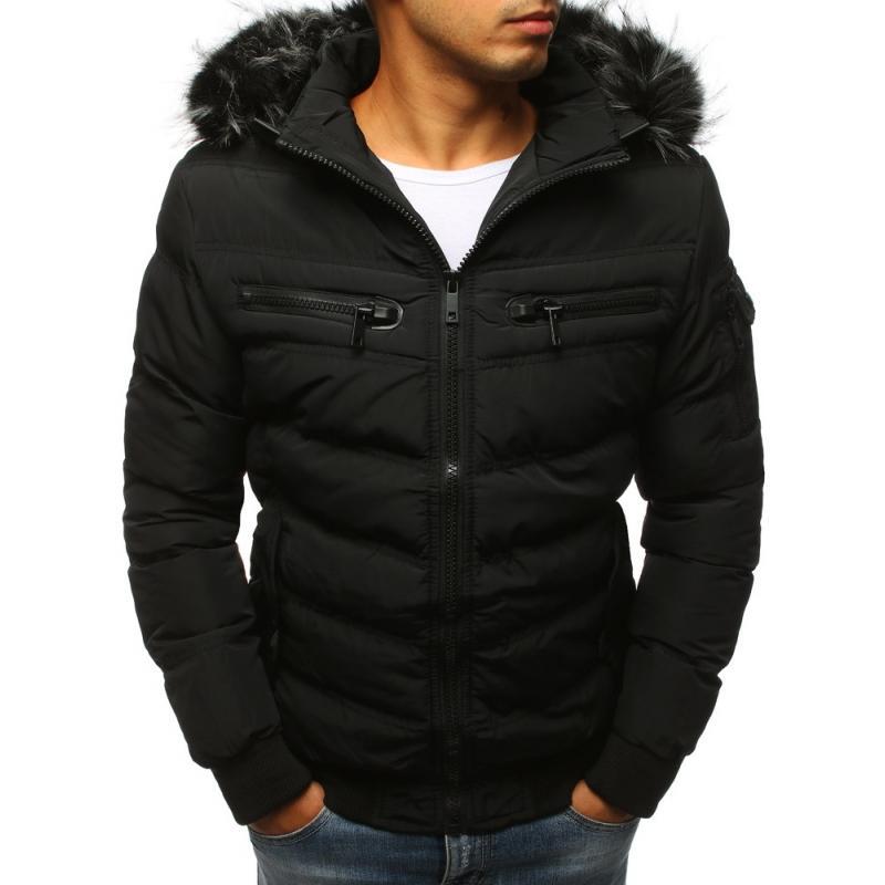 Pánska prešívaná zimná bunda (tx2318) - čierna