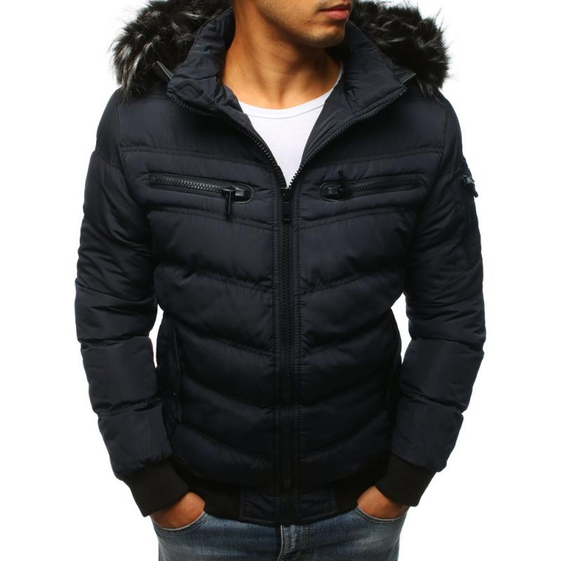 Pánska prešívaná zimná bunda (tx2320) - tmavomodrá