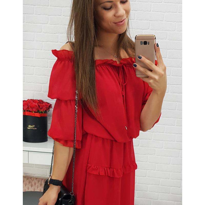 Dámske šaty MADELINE (ey0428) - červené d8f0ecb1e54