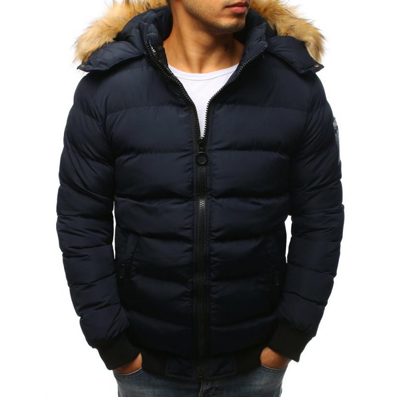 Pánska bunda prešívaná  (tx2316) - tmavo modrá