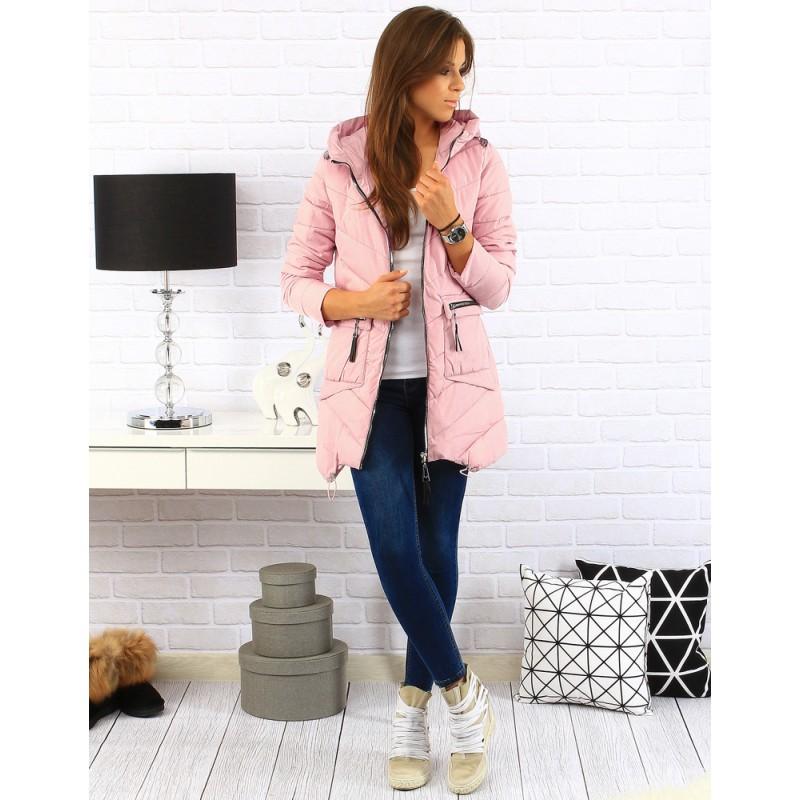 Dámska prešívaná bunda s kapucňou (ty0122) - ružová