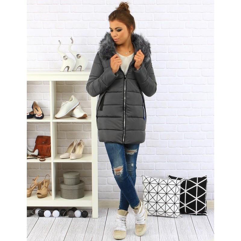 Zimná prešívaná bunda (ty0080) - antracitová