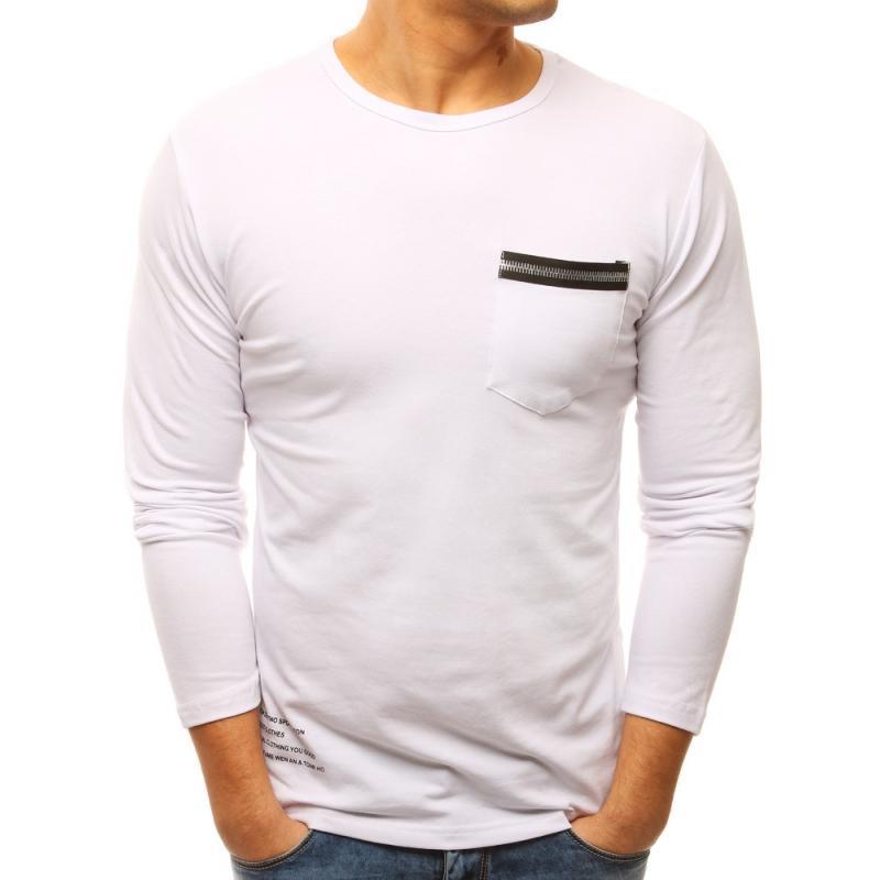 """Biele pánske tričko s dlhým rukávom (lx0460) """"XL"""""""