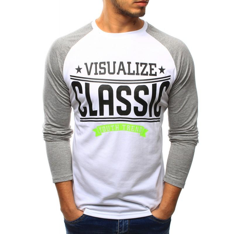 """Biele pánske tričko s dlhým rukávom (lx0429) """"XL"""""""