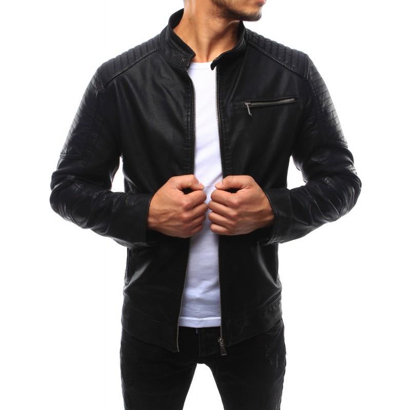 Pánska kožená bunda v čiernej farbe (tx1732)