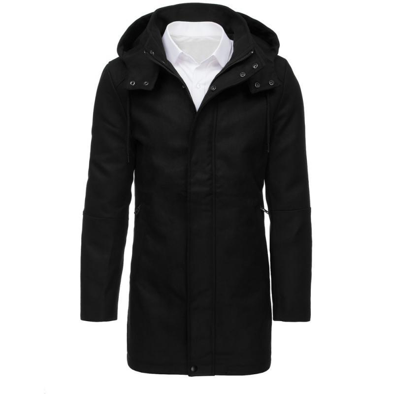 """Pánsky čierny kabát s kapucňou (cx0379) """"M"""""""