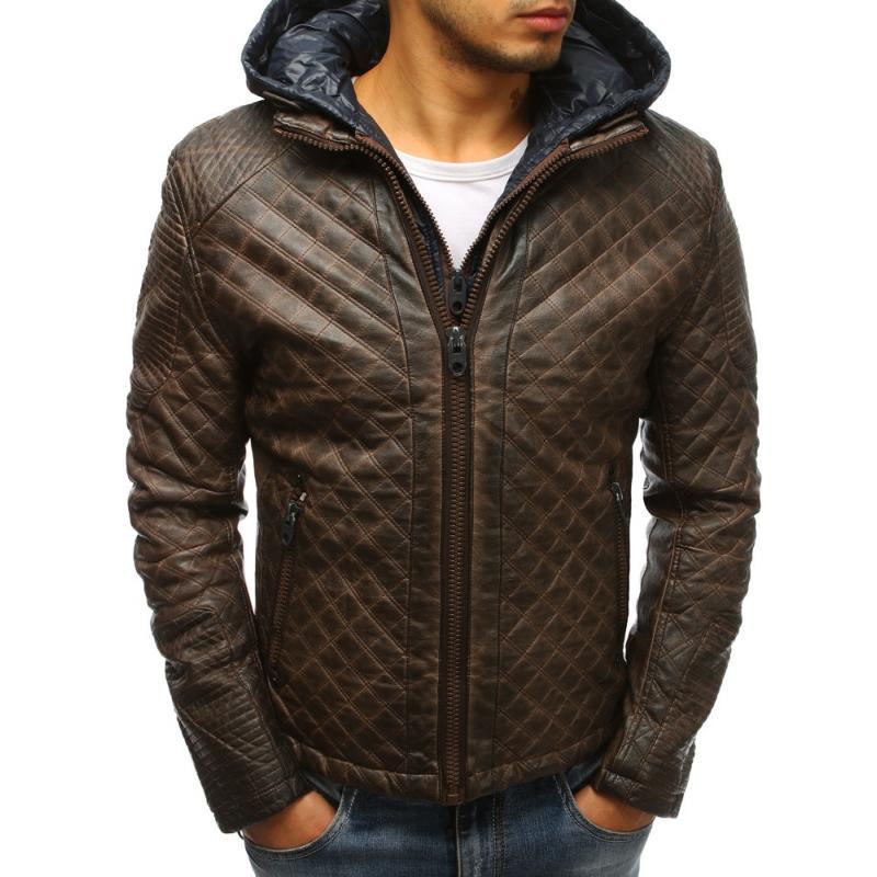 Pánska kožená bunda (tx2522) - hnedá f27735fc4da