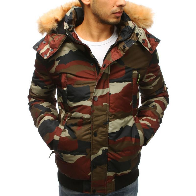 Pánska zimná bunda s kapucňou (tx2537) - svetlý maskáč 337f674f5ee