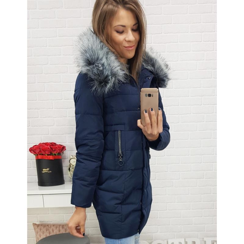 Dámska zimná prešívaná bunda (ty0408) - tmavo modrá
