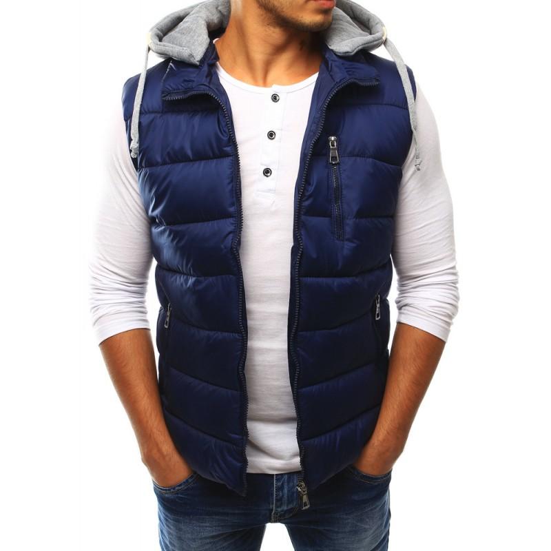 Prešívaná pánska vesta s kapucňou (tx1767) - granátová