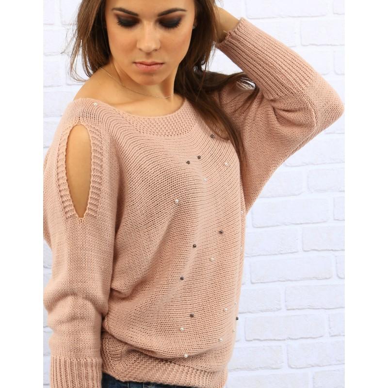 Dámsky ružový sveter London zdobený perlami (my0239) UNI