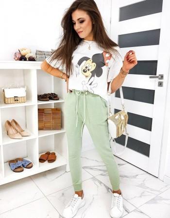 Spodnie damskie dresowe BAGGY STYLE oliwkowe UY0493