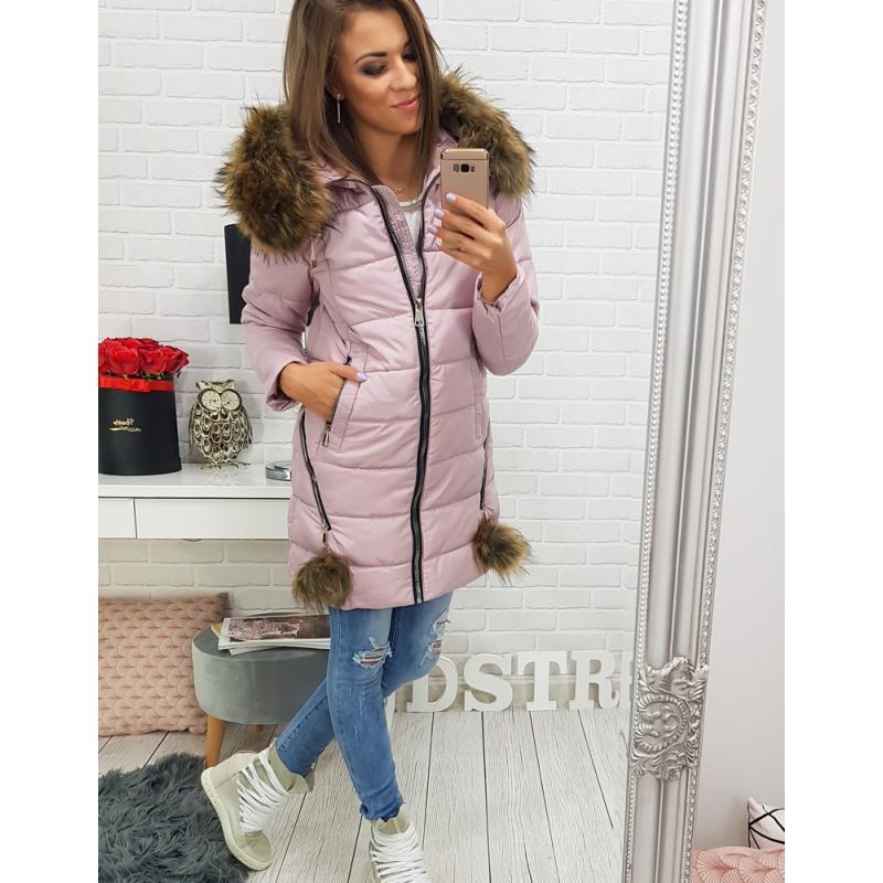 Dámska zimná bunda s kapucňou (ty0275) - ružová veľ. XL