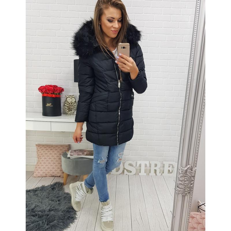 Dámska zimná bunda s kapucňou (ty0304) - čierna, veľ. S